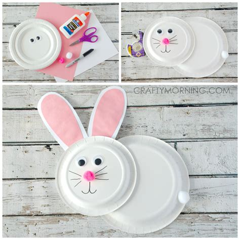 easter bunny paper plate craft paper plate bunny rabbit craft for crafty morning