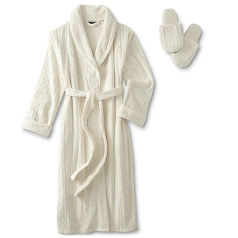 cable knit robe covington s embossed robe slippers cable