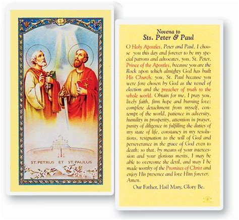 clear sts card novena to sts and paul holy card