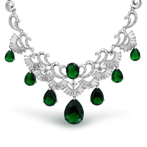 emerald jewellery emerald color cz teardrop gatsby inspired estate jewelry