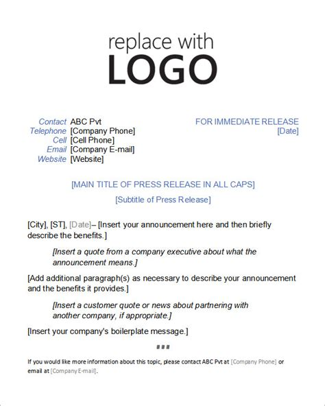 sample press release templates 8 free documents