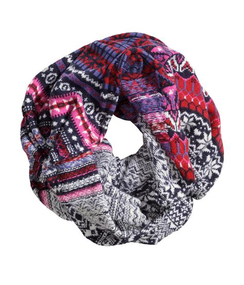 h m knit h m jacquard knit scarf lyst