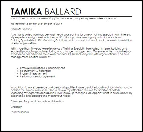 training specialist cover letter sample livecareer