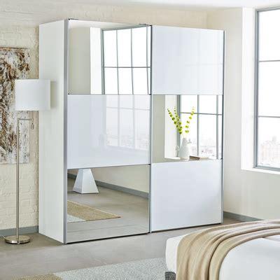 loft two door sliding wardrobe white glass with mirror dwell