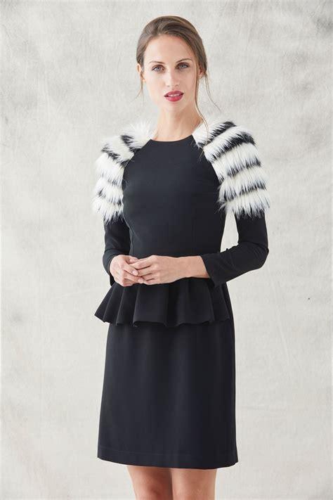 vestidos cortos negro vestido corto negro con pelum y hombros con pelo blanco y