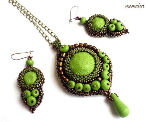 bead setting bead embroidered jewelry set by moonsafaribeads on deviantart