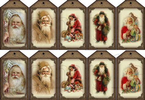 vintage old world santa gift size hang tags