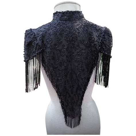 beaded shawl antique clothes black jet beaded cape