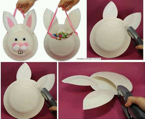 easter crafts with paper plates easter bunny paper plate basket craft ideas