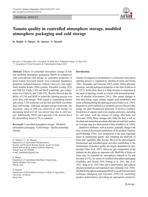 Modified Atmosphere Packaging Quality by Pdf Tomato Quality In Controlled Atmosphere Storage