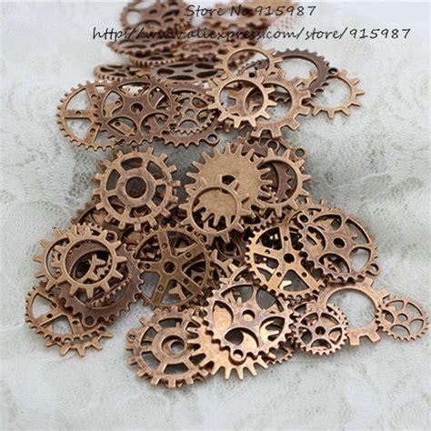 make copper jewelry wholesale mix 100 pcs antique copper charms gear pendant