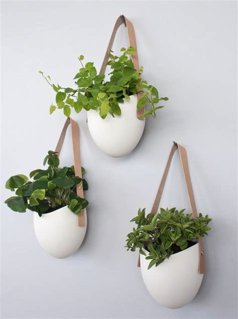 white hanging planter set of 3 porcelain leather hanging planters gardenista