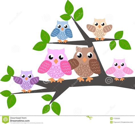 Bird Tree Wall Sticker a cute owl family stock vector image of cartoons colour