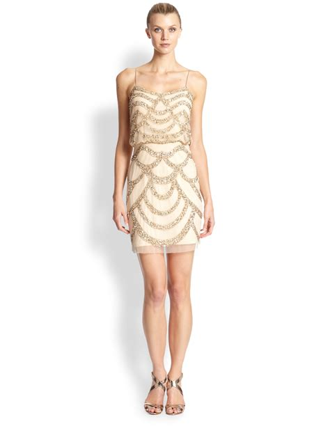 metallic beaded dress aidan mattox beaded cocktail dress in metallic lyst