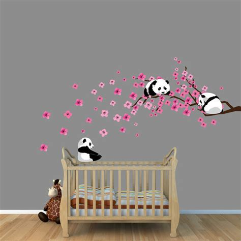 wall nursery decals panda cherry tree wall decals by nursery decals and more