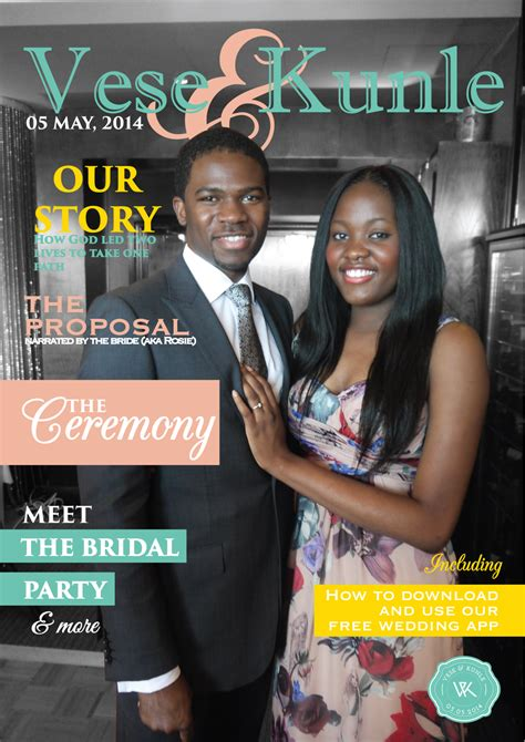 front page for a project vese amp kunle s magazine wedding programme 3alpha studios