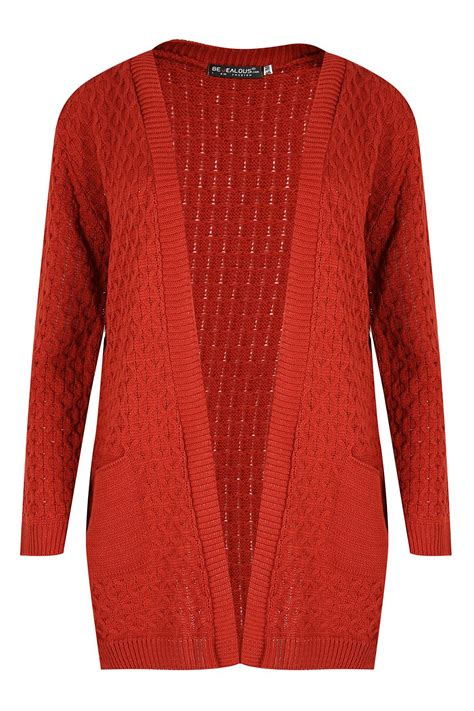 womens cable knit cardigan womens chunky waffle open front pocket top cable