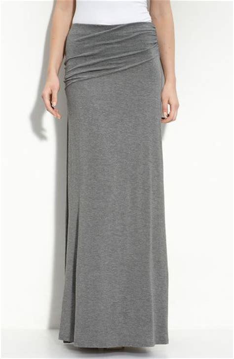 grey knit skirt bobeau asymmetric knit maxi skirt in gray charcoal lyst