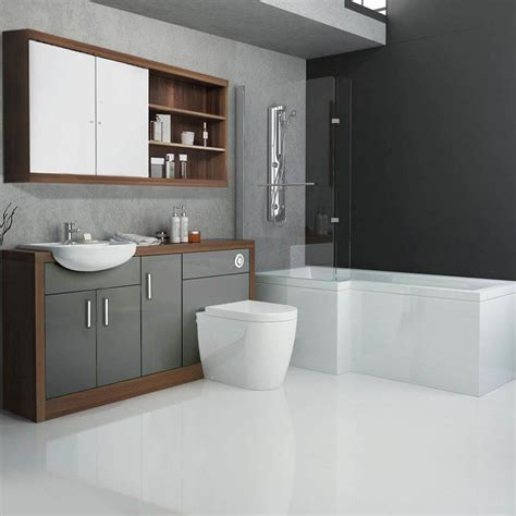Images Of Bathroom Suites by Lucido L Shape 1500 Furniture Suite Grey Buy Online At
