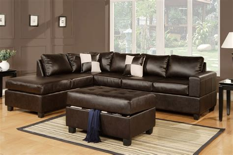 sectional sofa leather 3pc espresso black or burgundy bonded leather