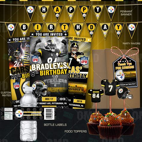 steelers decorations sports invites pittsburgh steelers football ultimate