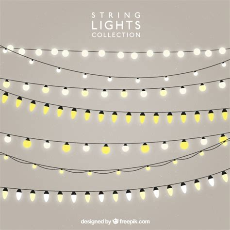 light bulb strings pack of strings with illuminated bulbs vector free