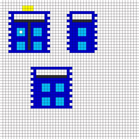 3d Tardis Perler Bead Pattern Bead Sprites Misc Fuse