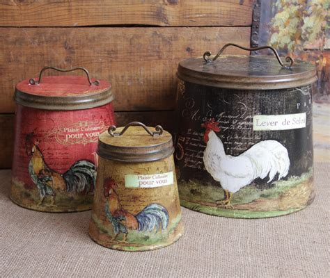 Red Canister Sets Kitchen shabby country chic rooster tin canister set home decor ebay
