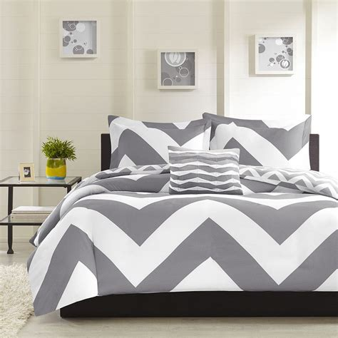 chevron comforter sets modern reversible grey chevron stripe comforter set