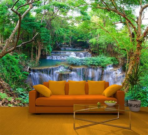 wall mural from photo green forest wall mural deco photo wallpaper waterfall