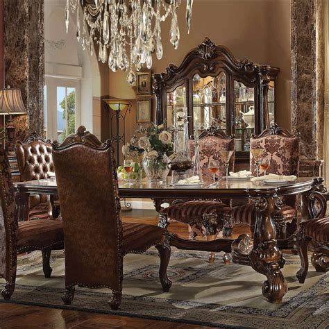 acme dining table acme versailles 96 quot dining table set in brown for from