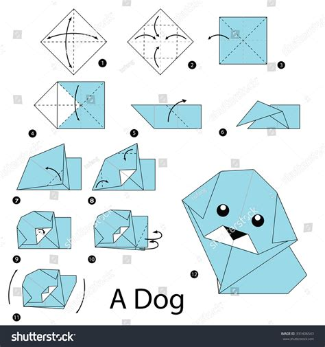 how to make origami dogs step by step how make stock vector 331406543
