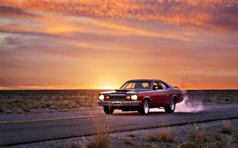 Car Sunset Wallpaper plymouth duster on the road at sunset wallpaper car