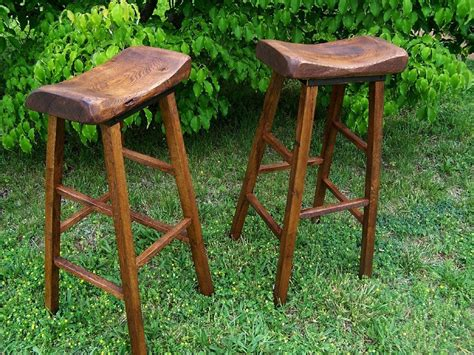 Custom Wood Bar Stools by Buy Handmade Reclaimed Oak Live Edge Bar Stools Made To