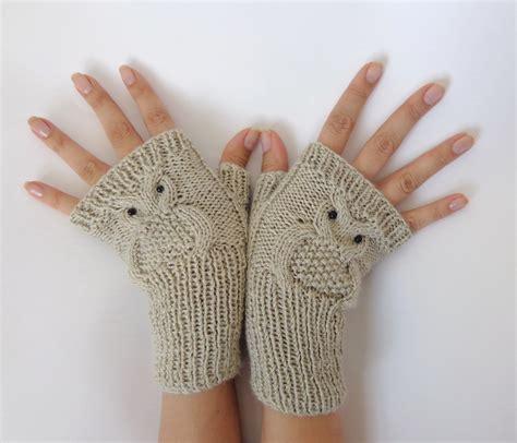 owl fingerless gloves knitting pattern owl fingerless gloves knitted mittens or mitts in