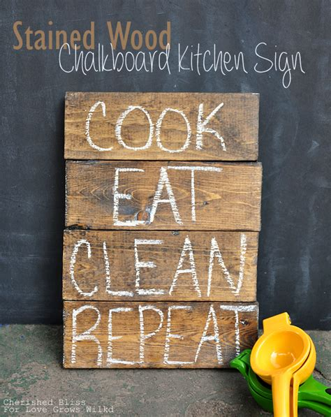chalkboard paint for wood stained wood chalkboard kitchen sign cherished bliss