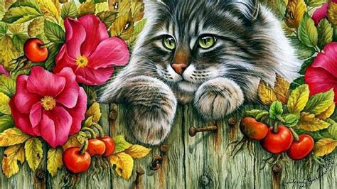 do cat painting cat on a fence wallpaper and background 1366x768 id 424589