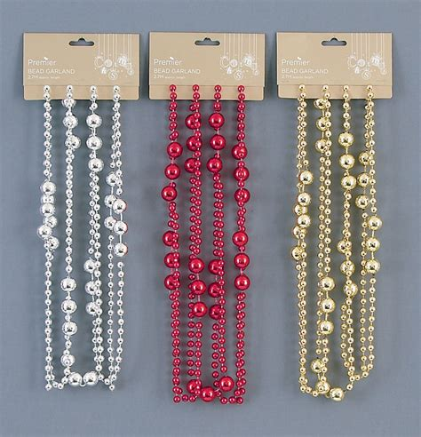 beaded garland for tree beaded garland gold silver 2 7 m