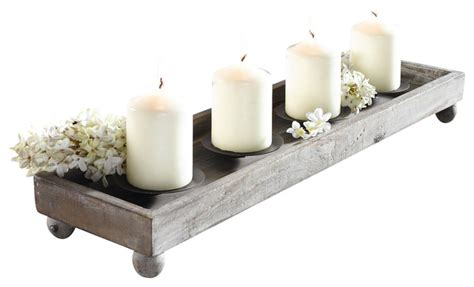 Candle Tray by 21 Quot Antique Finish Wood Tray With Four Metal Candle