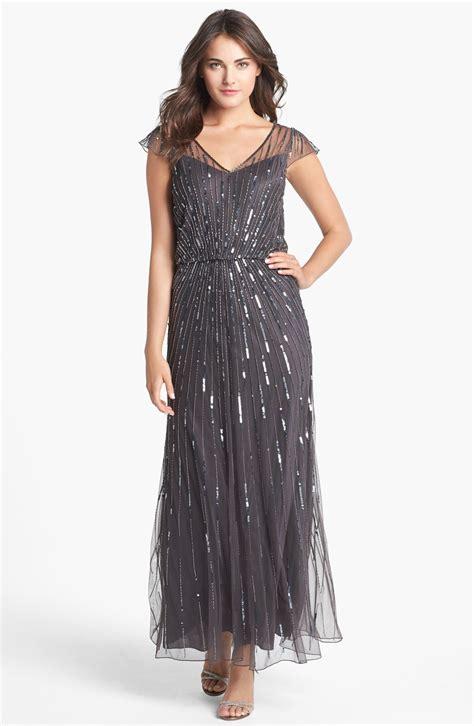 298 Sz 16 J Kara Beaded Mesh Blouson Gown Slate Gray Ebay