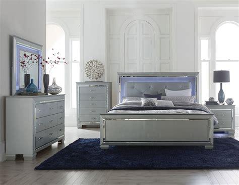 furniture bed sets homelegance allura bedroom set with led lighting silver