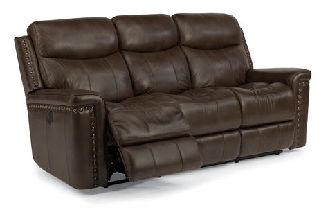 flexsteel reclining sofa top grain leather match power reclining sofa with nail