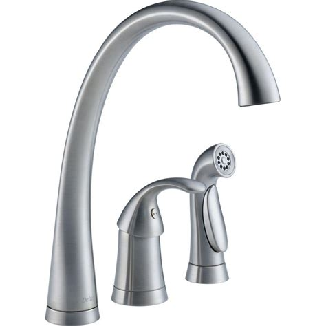 delta kitchen faucets installation delta pilar waterfall single handle standard kitchen faucet with side sprayer in arctic