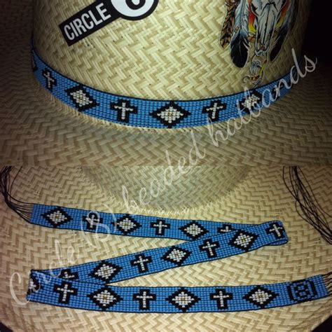 Circle 8 Beaded Hatbands Blue With Crosses Fund Us
