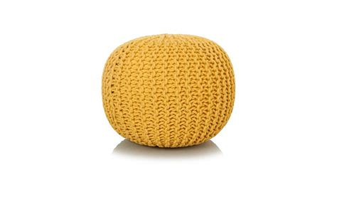 asda knitted pouffe george home yellow knitted pouffe footstools pouffes