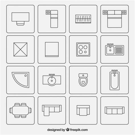 architectural floor plan symbols furniture symbols used in architecture plans vector free