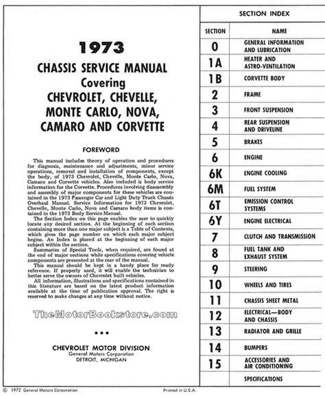 service manuals schematics 1973 chevrolet monte carlo parking system 1973 chevrolet service manual nova corvette more st 329 73