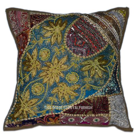 beaded decorative pillows 40 quot x 40 quot green decorative designer patchwork indian beaded