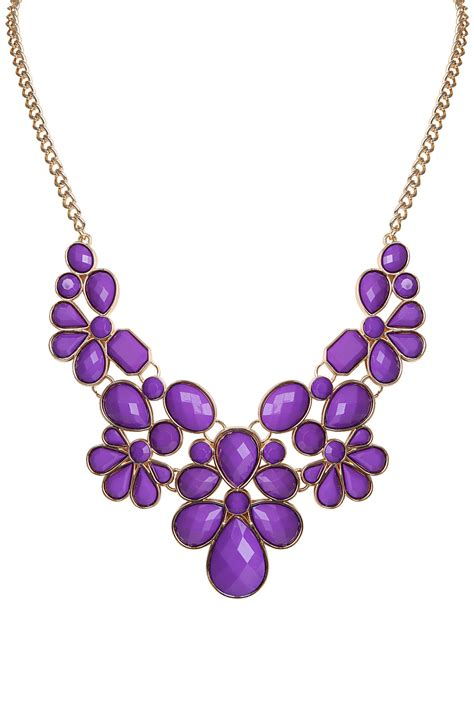Purple Gold Beaded Statement Necklace