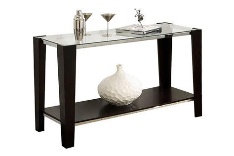 sofa table espresso espresso glass top sofa table